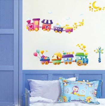 UfingoDecor Cartone Animato Trenino Adesivi Murali, Camera Dei Bambini Vivai Adesivi da Parete Removibili/Stickers Murali/Decorazione Murale