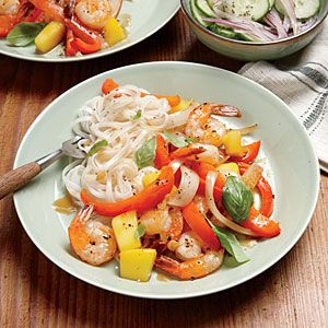 Shrimp-Mango Stir-Fry and Rice Noodles Cooking Light Dinner Tonight, Serve with Shaved Cucumber and Red Onion Salad