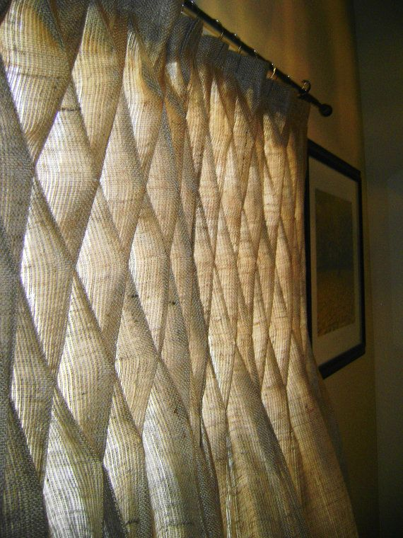 Burlap Smocked Curtains & Drapes in Natural by NaturallyHomeDecor, $100.00