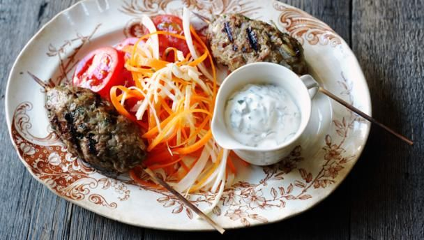 BBC Food - Recipes - Turkish kofta kebabs with minted yoghurt and kohlrabi and carrot salad