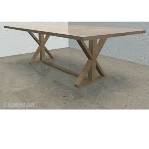DIY X Base Dining Table   Free Plans