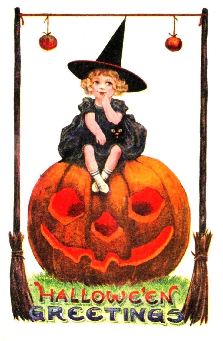 Старинные открытки ведьмы, открытки