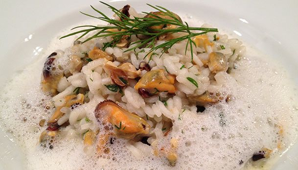 Mussel Risotto with Mussel Foam.