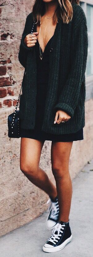 #fall #fashion / oversized knit + black dress