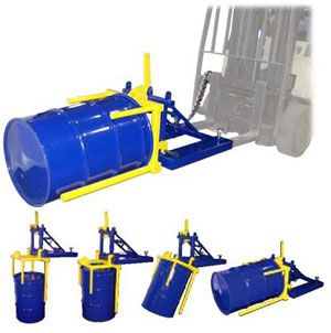 Forklift Drum Positioners Fork Attachment allows forklift driver to invert standing drums to the horizontal racking position and vice-versa. Positive latching system ensures safe handling of drums weighing up to 800 lbs. Slide the positioner extensions over the vertical drum. With the aid of the Drum Positioner rotate drum to horizontal position.