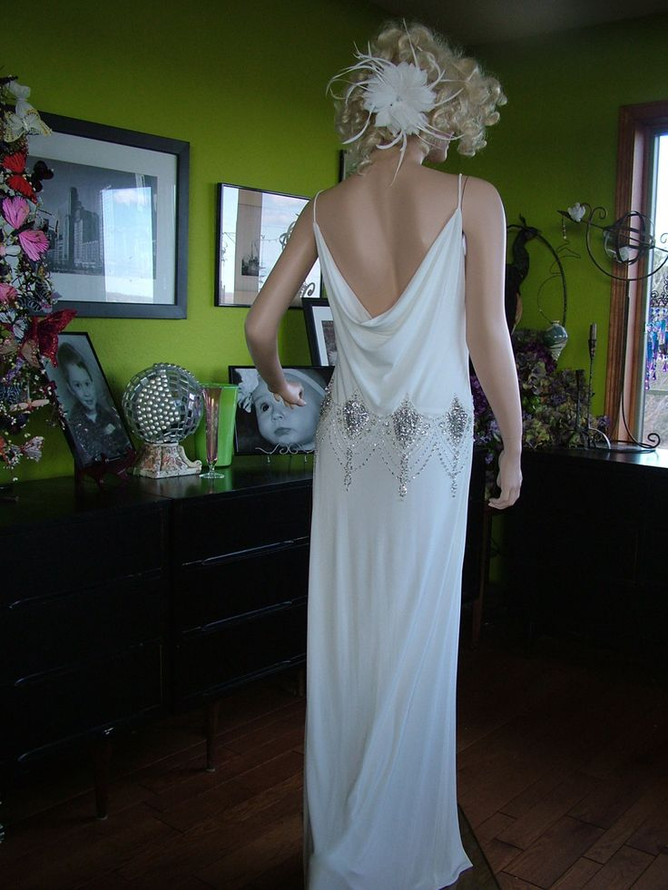 wedding reception dress for bride great gatsby 1920s flapper wedding dress alternative 9894