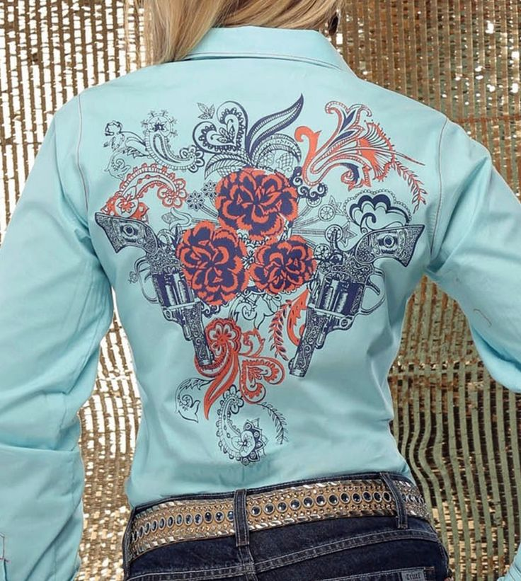 CRUEL GIRL RODEO Western Barrel ARENA FIT AQUA PISTOLS  SHIRT COWGIRL NWT MEDIUM #CruelGirl #Western  50% OFF RETAIL!