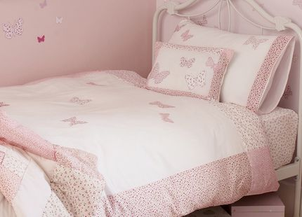 Bella Butterfly Pink Cotton Duvet Set She will love this delightful childrens bedlinen set which displays wonderful butterfly designs in the softest pink shades on a pure white cotton ground. Includes a duvet cover and pillowcase. 100% cotton.
