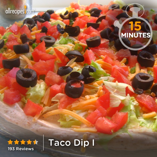 "Taco Dip I | ""Fantastic recipe but I added refried beans by simply spreading them in the bottom of the dish and topping with the remainder of the recipe!"""