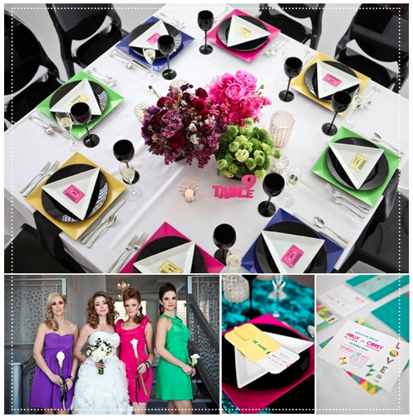 Pops of neon and color blocking for this wedding that's inspired by the 80's. Great for brides who like their themes bold and colorful!    (via ruffledblog.com)    #love #weddings #colorful #fun #brides