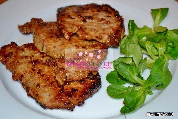 Свиные стейки в горчично-медовом соусе   Beautyideas.ru