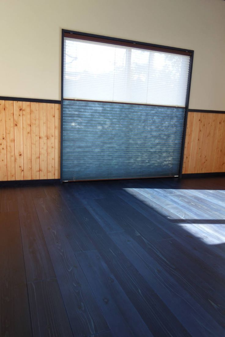 Japanese indigo died 'aizome' wooden floor