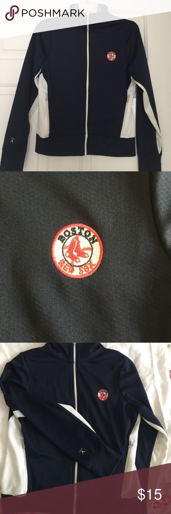 Boston Red Sox track jacket Navy blue and white full zip track jacket  with small Red Sox logo on left breast side.  Zippered side pockets. Minimal wear Antigua Jackets & Coats