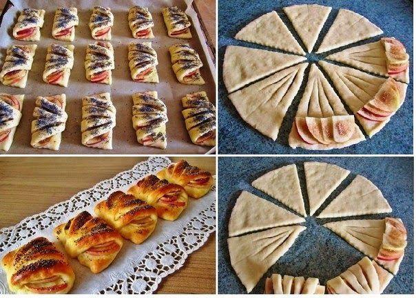 Лучшие кулинарные рецепты: Конвертики с яблоками из творожного теста