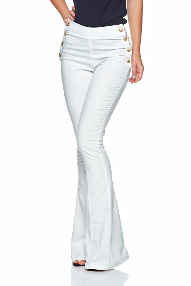 PrettyGirl Bottoms Up White Trousers, metal accessories, back zipper fastening, slightly elastic fabric, flared pants, women`s trousers