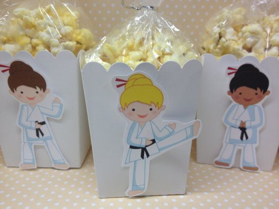 Boy And Girl Karate Party Popcorn or Favors Boxes - set of 10