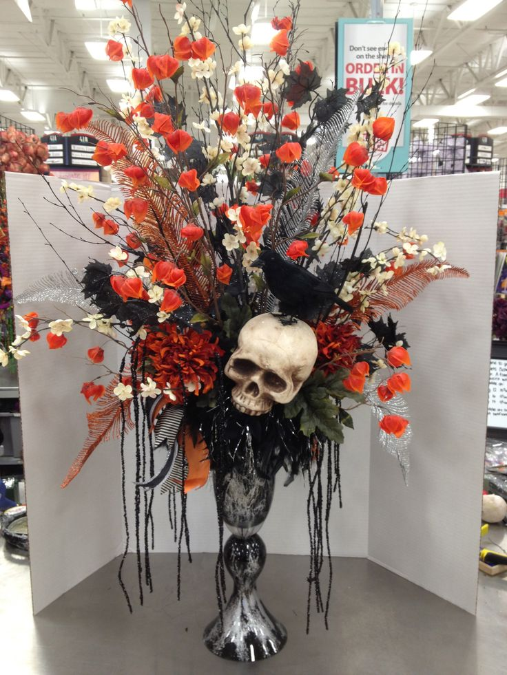halloween traditions skull floral arrangement by christian rebollo my floral designs. Black Bedroom Furniture Sets. Home Design Ideas