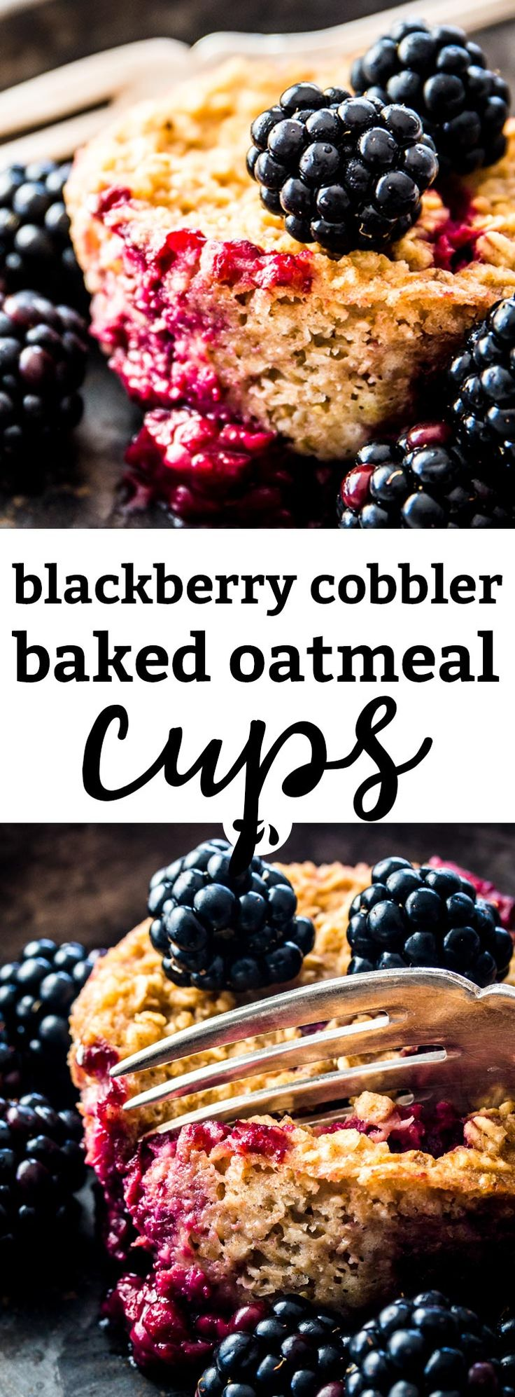 Are you looking for a healthy meal prep breakfast to make ahead for busy school mornings? Try these easy make ahead blackberry cobbler baked oatmeal cups! They are easy to whip up with oats, applesauce, blackberries and cinnamon. The perfect gluten free, dairy free, egg free, vegan recipe made with simple ingredients for a fuss free clean eating boost. Stock your freezer with them today and be ready for the back to school craze! | #vegan #backtoschool #glutenfree #mealprep #breakfast #recipe