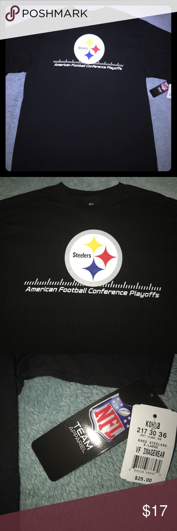 🏈 NFL Pittsburgh Steelers AFC Playoffs Men's Top For sale is a NWT, Size XL, Majestic Brand, NFL Pittsburgh Steelers AFC Playoffs Men's T-Shirt. Perfect for the Steelers fan in your family! Majestic Shirts Tees - Short Sleeve