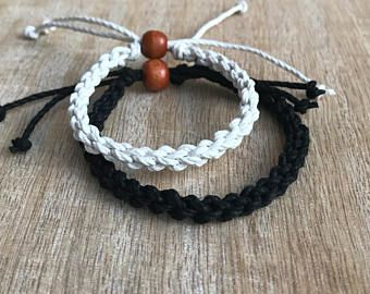 His and her Bracelet, Black and White, Couple Hemp Bracelet, Love Couple Bracelet, Matching Bracelets, Set of 2 HC001125