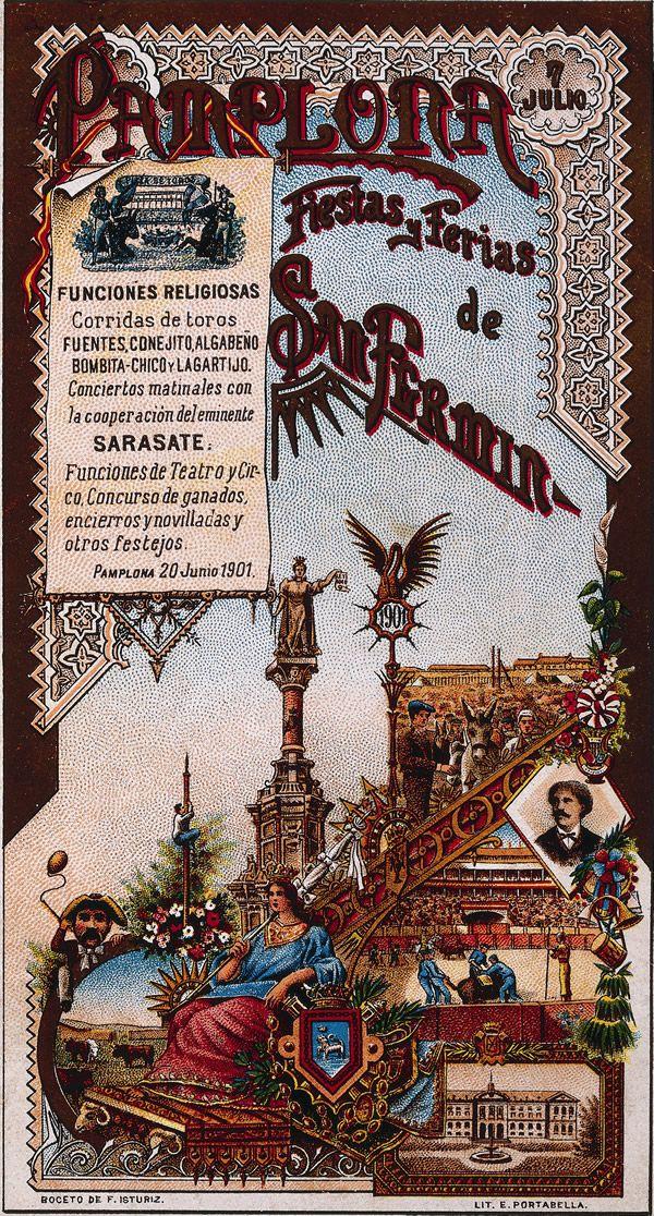 Cartel de los Sanfermines de 1901 - Fiestas y ferias de San Fermín, #Pamplona