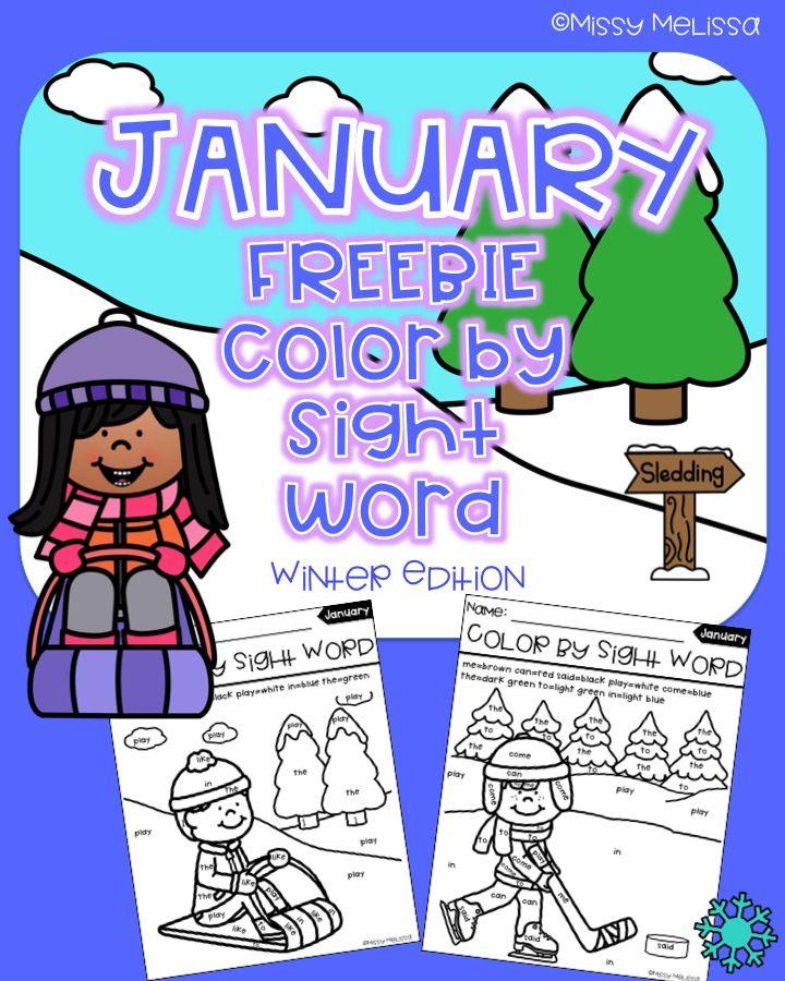 January Color by Sight Word FREEBIE   Teacher Kindergarten