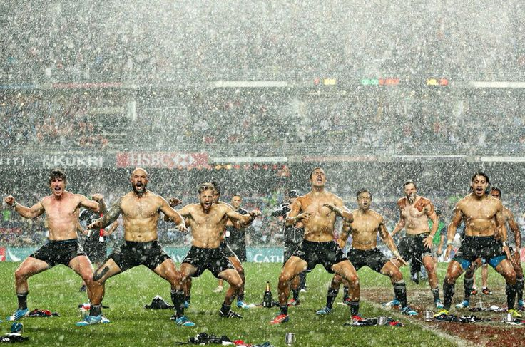 All Blacks Rugby Sevens perform a shirtless Haka in the poring rain to celebrate their victory over England.  I like how these guys roll.