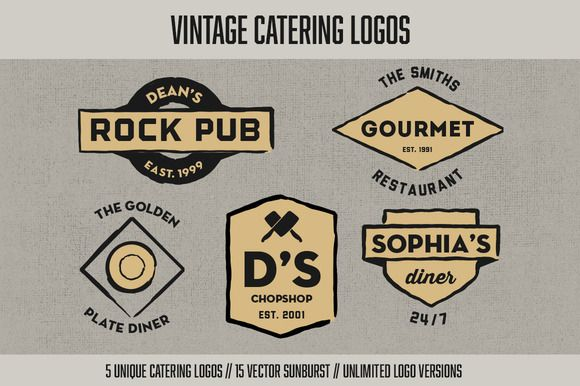 Check out Vintage Catering Logos by Graphic Boutique on Creative Market