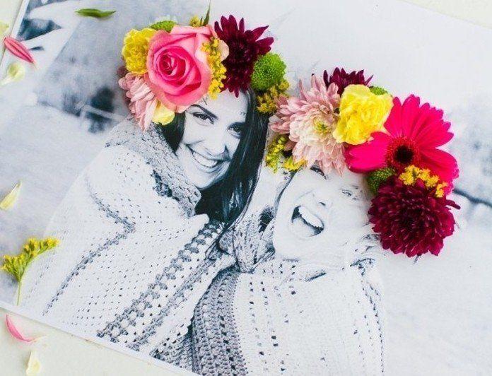 joli cadeau personnalisé a offrir à votre meilleure amie, phoro décoré de fleurs, cadeau a faire soi meme