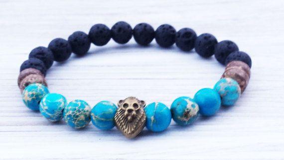 Mens Bracelet Lion Bracelet Gifts For Him Black Lava by ByOliveFR