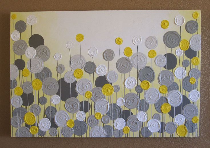 """Yellow and Grey Textured Painting, Abstract Flowers, Large 24x36"""" Acrylic Painting on Canvas. $269.00, via Etsy."""