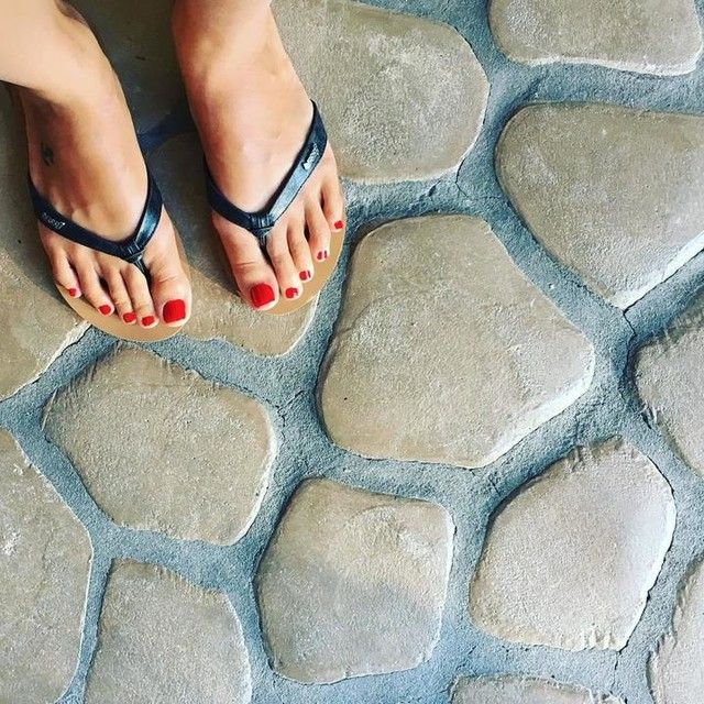 Toes done!  New #sandals too! 7/17/16  #vegas #bound #latepost #simple #opi #red #pedicure #reef #reefsandals #pedi