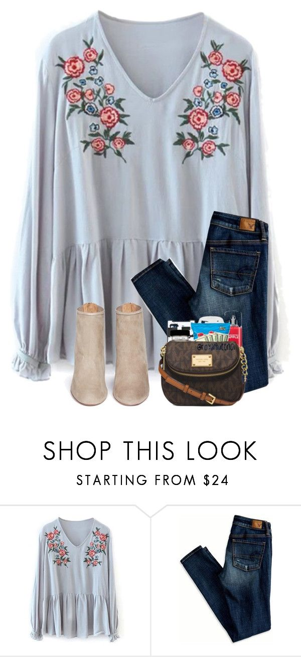 """"""""""" by preppyandsouthern17 ❤ liked on Polyvore featuring American Eagle Outfitters and Aquazzura"""