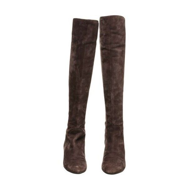 Pre-Owned via Spiga Taupe Suede Flat Knee High Boots ($95) ❤ liked on Polyvore featuring shoes, boots, multi, via spiga boots, suede knee-high boots, knee high heel boots, knee boots and suede boots