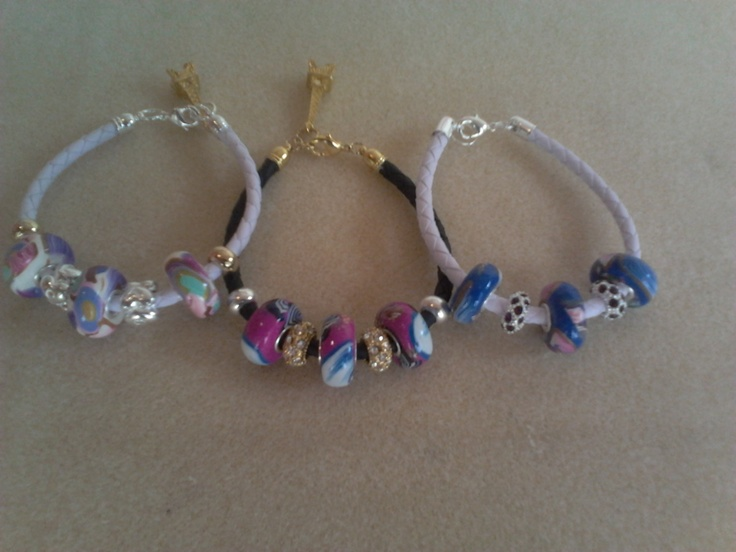 Rebecca bracelets with polymer beads pandora style.