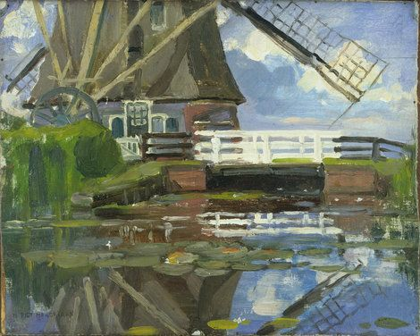 Piet Mondrian, Truncated View of the Broekzijder Mill on the Gein, Wings Facing West,1902-3