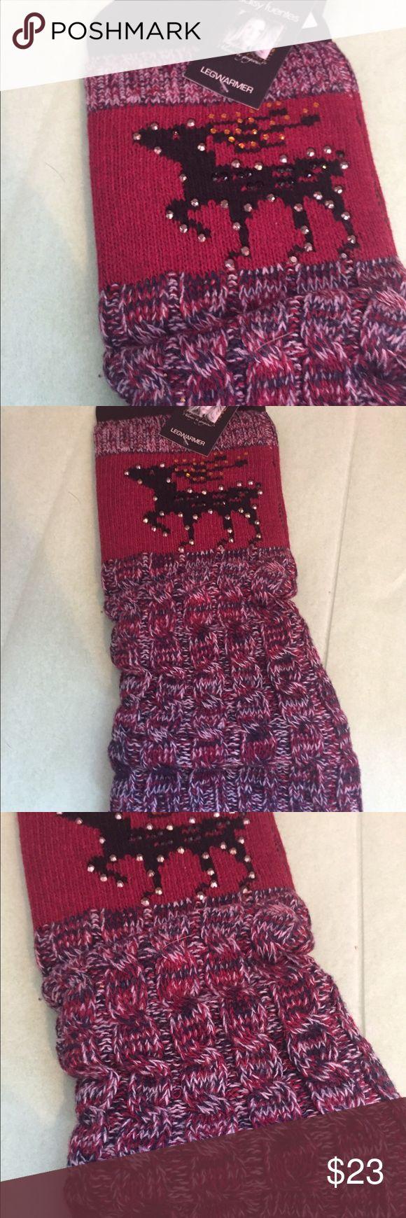 DAISY FUENTES LEG WARMERS Pretty reindeer leg warmers Daisy Fuentes Accessories Hosiery & Socks