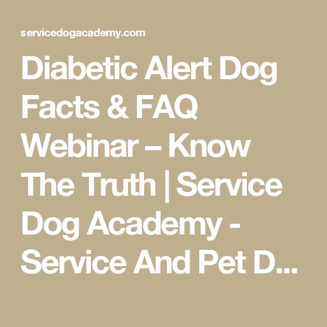 Diabetic Alert Dog Facts & FAQ Webinar – Know The Truth | Service Dog Academy - Service And Pet Dog Training - St. Louis Missouri, Waterloo Illinois 62298 - (206) 355-9033