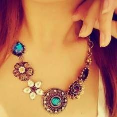 bohème fleurs de cristal turquoise dossard collier déclaration de cou