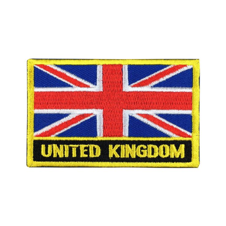 United Kingdom Flag Patch Embroidered Patch Gold Border Iron On patch Sew on Patch Bag Patch meet you on www.Fleckenworld.com