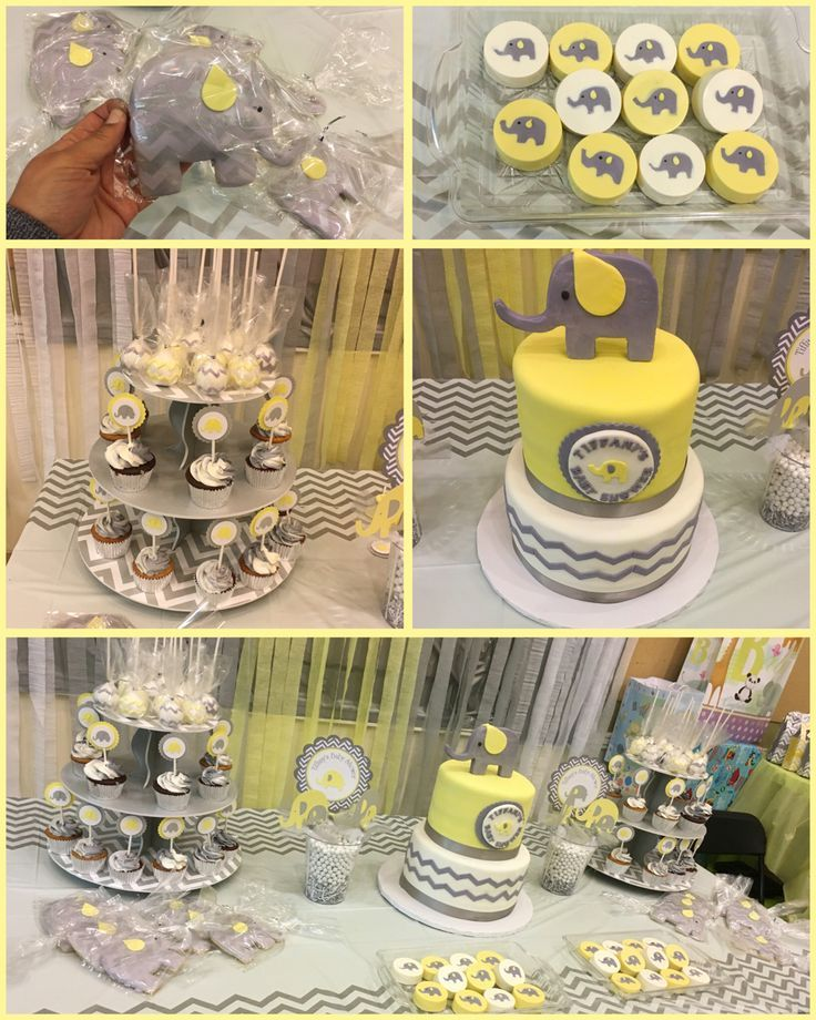 Elephants baby shower cake yellow, gray and white all treat done by kristys cake shop