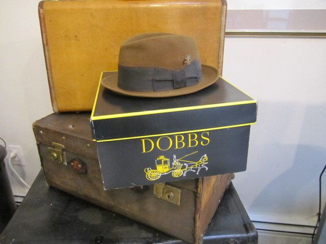 Vintage Dobbs Fedora and Original Box. Fedora 7? Nice Black and Yellow Dobbs Hat Box Hat storage by ontherebound on Etsy https://www.etsy.com/listing/291710089/vintage-dobbs-fedora-and-original-box - $60