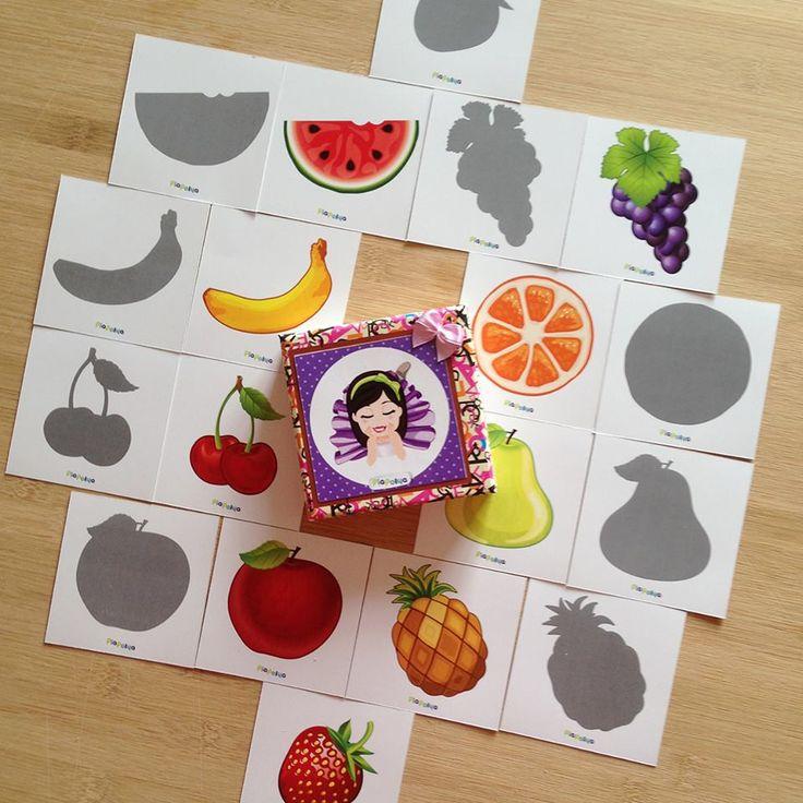 """""""PiaPolya Meyveleri Eşleştirerek Gölgesini Bulma Kartları"""" 18 ay ve 4 yaş arası çocuklarınız için uygundur."""