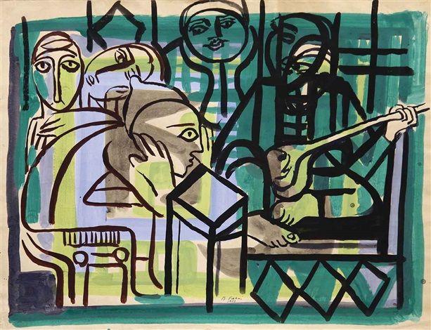 Poet & the audiences by Bedri Rahmi Eyuboglu