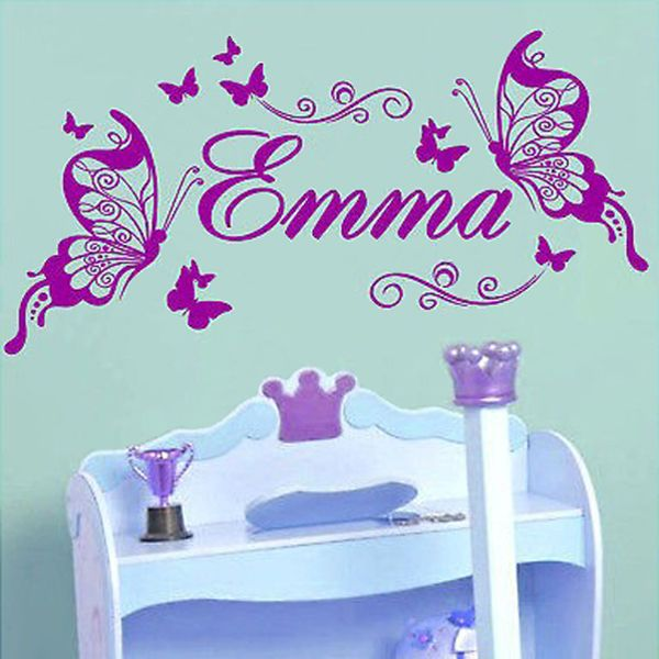Find More Wall Stickers Information about Butterflies Personalized Name Vinyl Butterfly Wall Mural Nursery Vinyls Girls Room Decor Wall Decals for Kids Room Wall Sticker,High Quality stickers ballon,China sticker dots Suppliers, Cheap sticker tank from First Fashion Space on Aliexpress.com