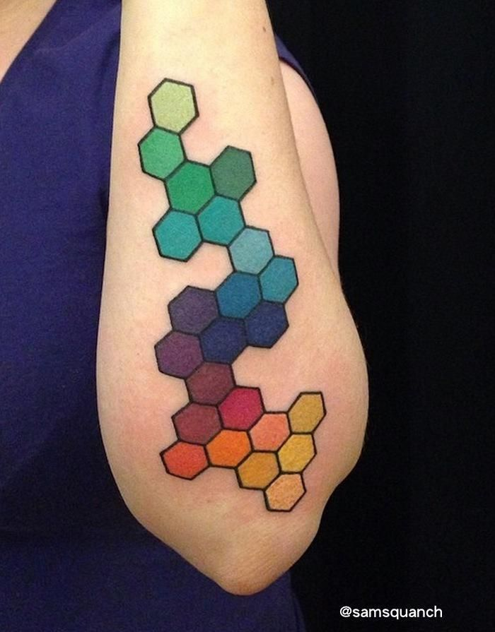 "thatattoozone: "" Samantha Sue Tattoos - Rainbow Hexagons """