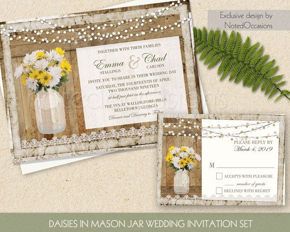 Daisy Wedding Invitations. Mason Jar Filled With Daisies On Lace And  Slatted Barn Wood Wedding Invitations. The Wedding Invitation Is 5x7 And  Has A ...