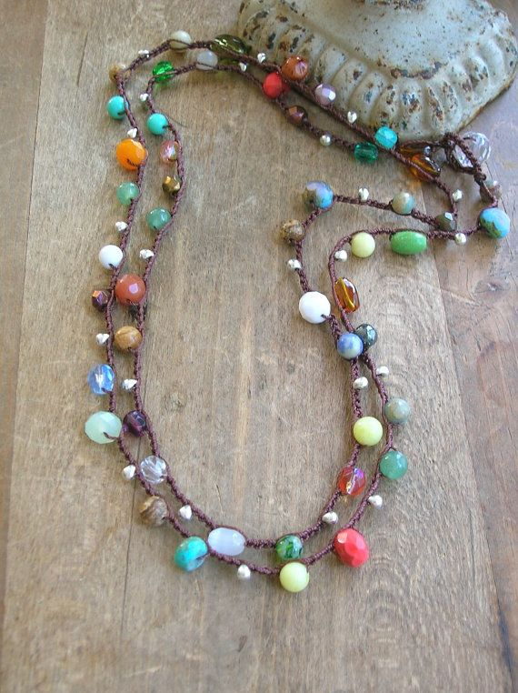 Colorful crochet necklace, Boho jewelry, long boho necklace Gypsy hippie bohemian wrap bracelet, hippie chic, czech glass beads, gemstones
