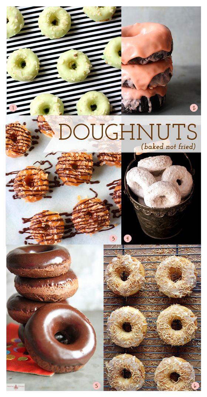 A bunch of donuts --mint pistachio almond, chocolate, samoa, whole wheat, chocolate & fresh mint, peach & white chocolate glaze