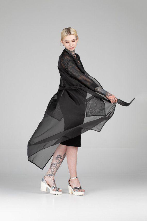 d62e1133f705 Women maxi sheer black coat, mesh Japanese kimono jacket, futuristic cyber  goth cardigan organza tra